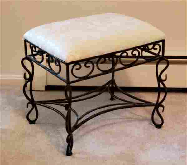 Wrought Iron and Upholstery Foot Stool