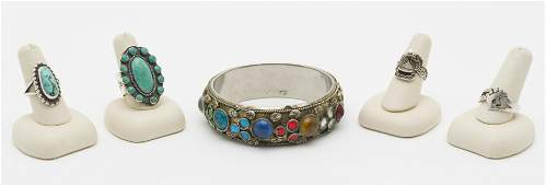 Silver Bangle and 4 Rings