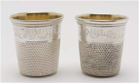"""2 Sterling """"Only A Thimble Full"""" Shot Glasses"""