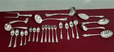 25 Pcs Silver Plate Flatware