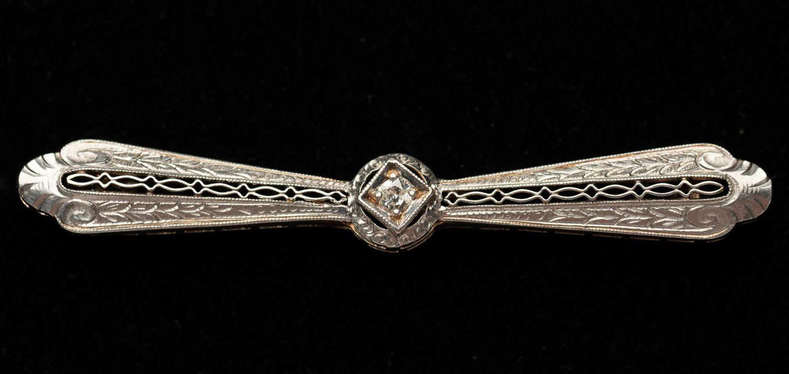 14k Edwardian Filigree Diamond Bar Pin