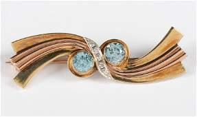 14k Blue Topaz  Diamond Brooch