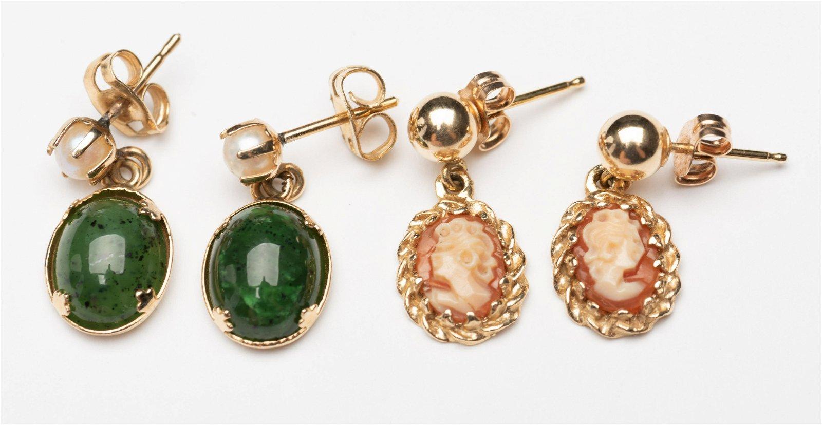 2 Pairs 14k Gold Earrings