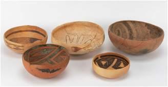 5 Pcs Native American Pottery