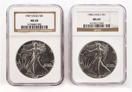 2 U.S. Silver Eagles (NGC Graded)