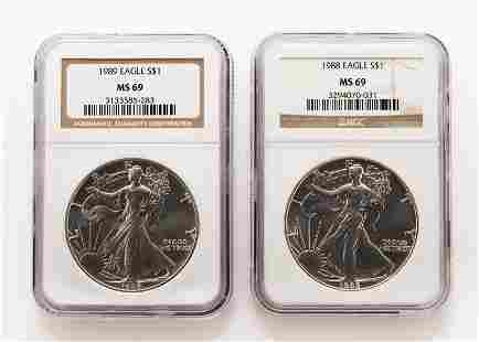 2 US Silver Eagles NGC Graded