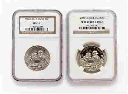 2 2008S Bald Eagle Half Dollar NGC Graded