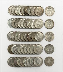 50 US Kennedy 40 Silver Half Dollars