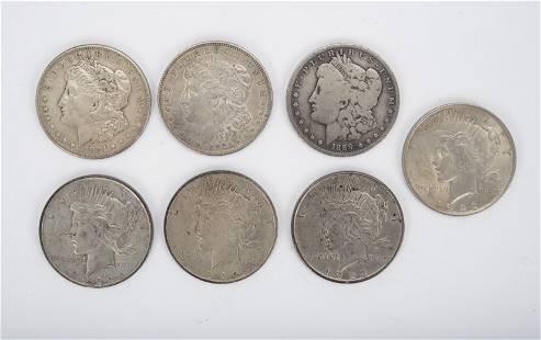 7 US Silver Dollars