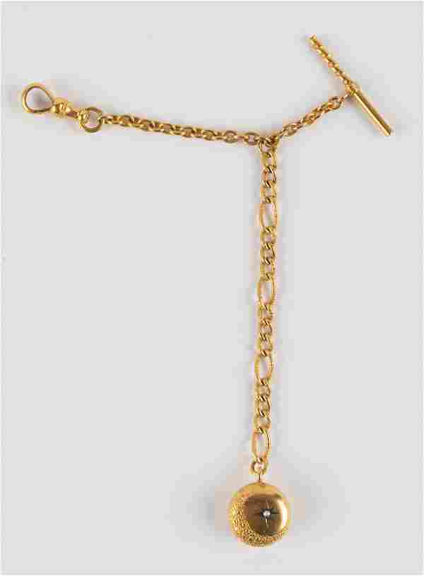 Victorian Gold Watch Chain w/ Fob