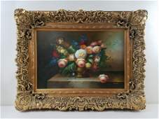 Old Master Style Still Life of Flowers Painting