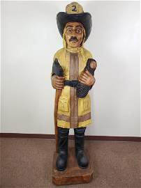 """5'9"""" Carved Fire Fighter Wooden Statue"""