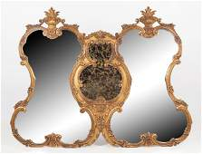 Ornate Double Mirror with Gilt Frame