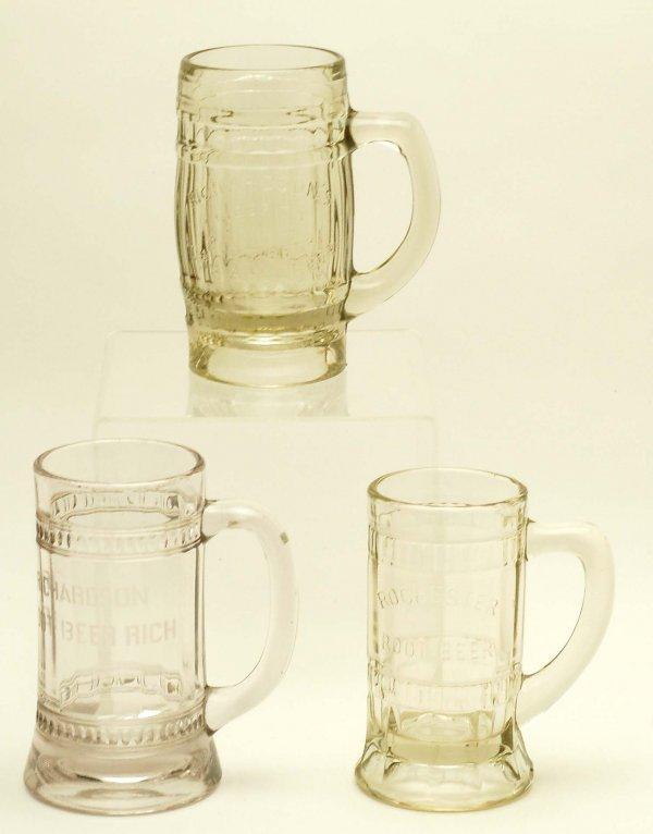 29: 3 Glass Root Beer Mugs Richardson Rochester