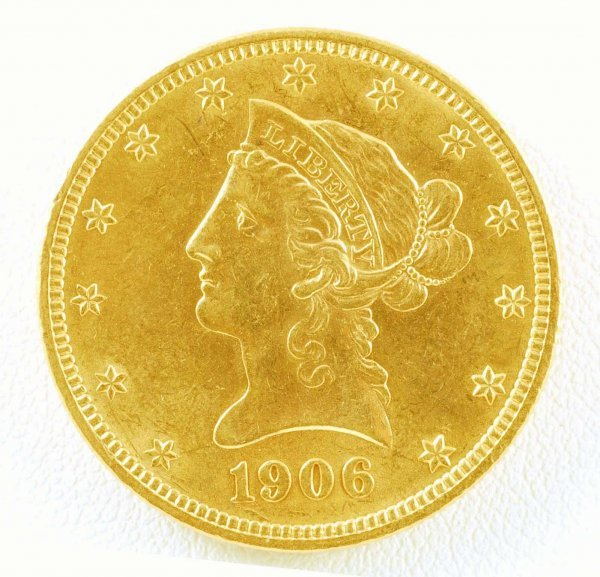 273: 1906 Liberty Head Eagle $10 Gold Piece Unc