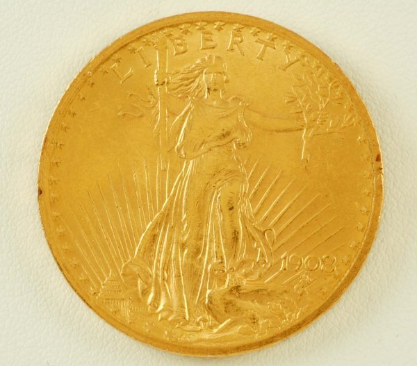 275: 1908 Saint-Gaudens $20 Gold Piece AU