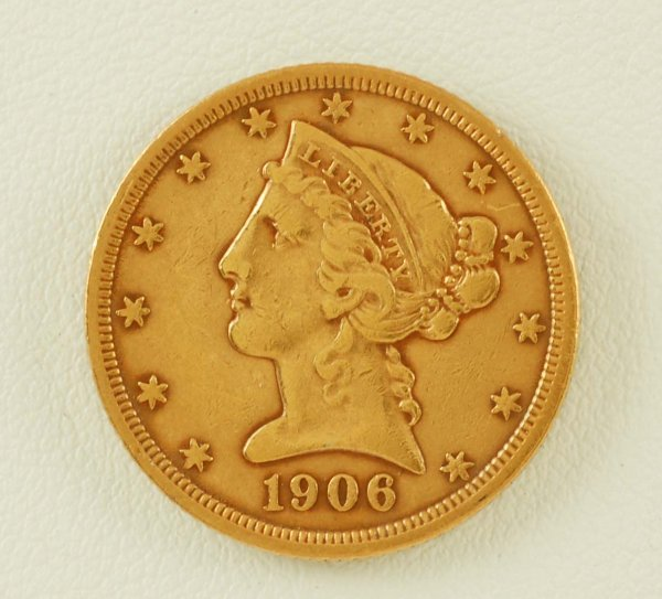 276: 1906 Liberty Head $5 Gold VF
