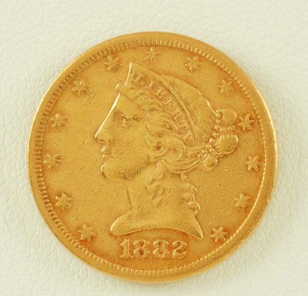 277: 1882-S Liberty Head $5 Gold EF