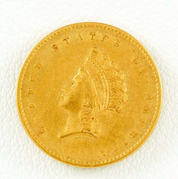 281: 1855 Indian Princess Head $1 Gold Piece EF