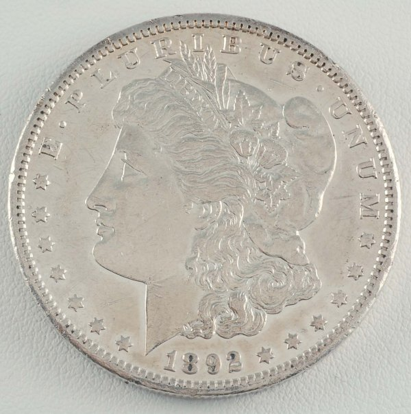 286: 1892-CC Carson City Silver Dollar AU Choice