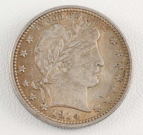 288: 1914 Barber Quarter Dollar Unc