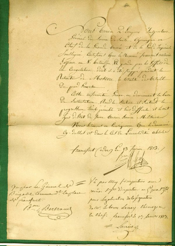 290: Dominique Jean Larrey Signed Letter 1813
