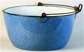 390: Large Blue Graniteware Kettle