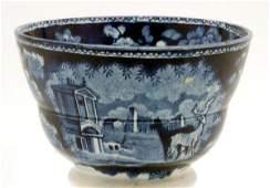 446: Staffordshire Blue Transferware Handleless Cup