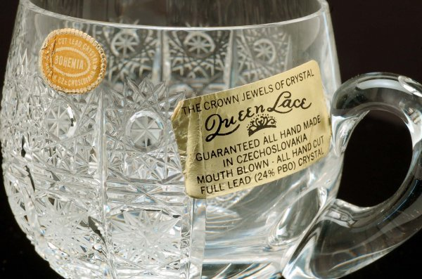 513: Queen Lace Crystal Punch Bowl Set - 4