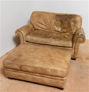 Leather Oversized Chair with Ottoman