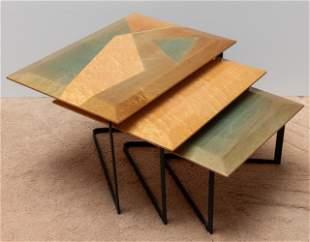 Group of 3 Artist Signed Modernist Nesting Tables