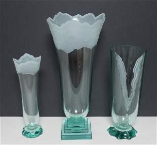 3 Schlamer Art Glass Vases