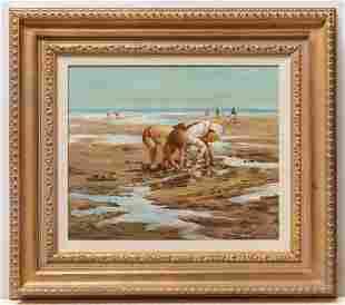 Children on Beach Painting