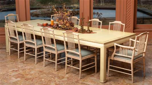 Banquet Sized Dining Table with 10 Chairs