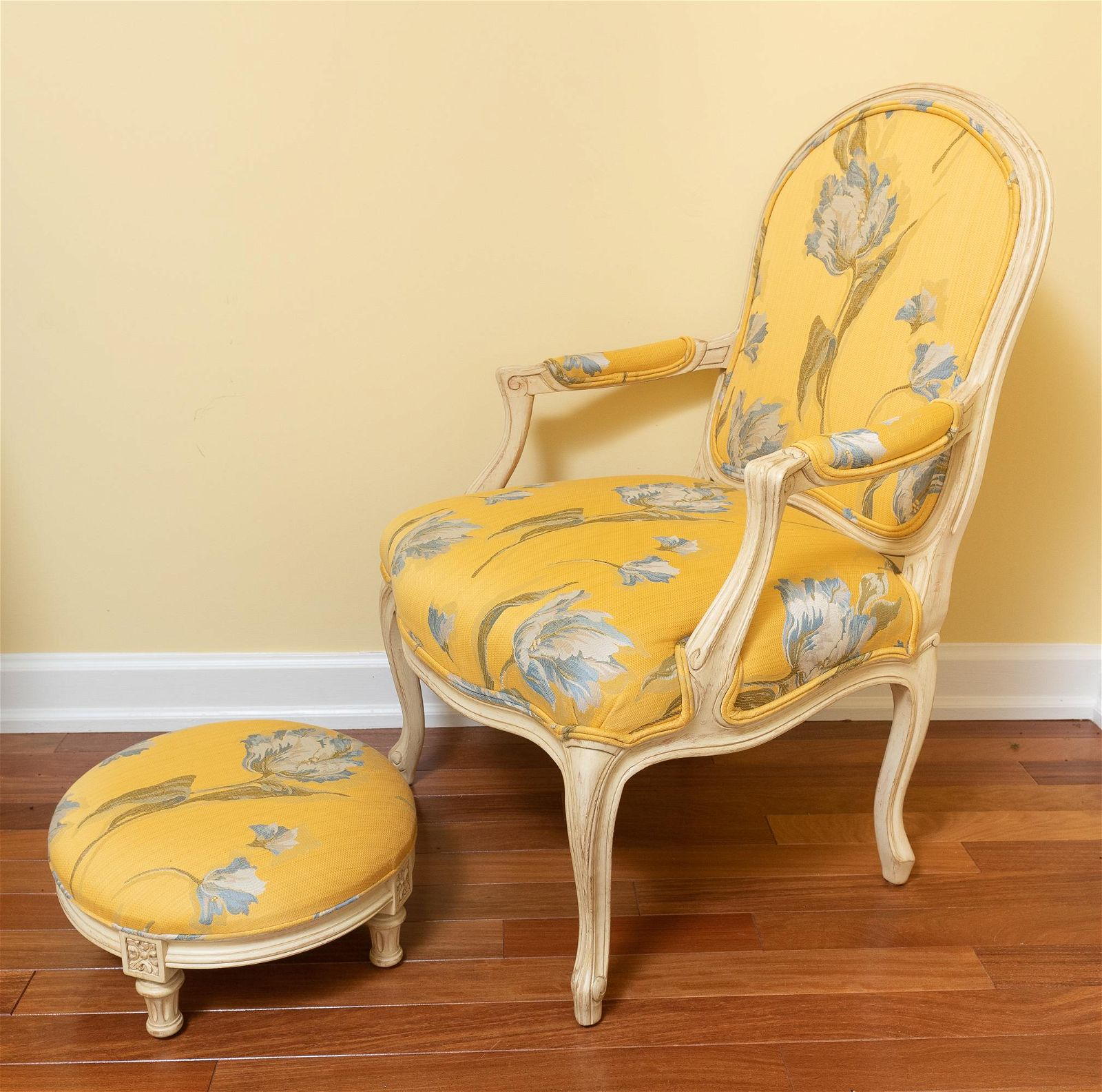 Yellow Floral Upholstered Arm Chair & Foot Stool