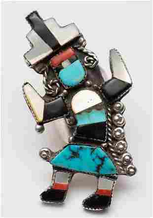 Sterling Inlaid Zuni Rainbow Dancer Ring