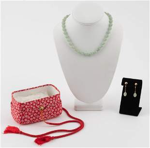 14K Jade Necklace and Earrings