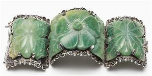 Mexican Silver & Carved Green Onyx Bracelet