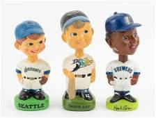 3 Vintage Baseball Bobbleheads Incl. Hank Aaron
