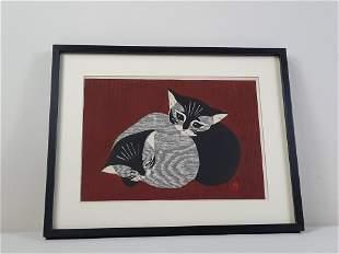 """Kawano """"Two Kittens"""" Woodblock Print"""