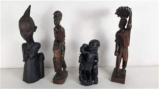 4 African Wood Carved Figures
