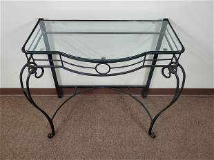 Metal Frame Glass Top Table