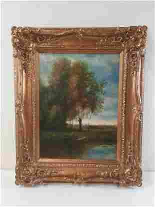 Landscape Painting in Ornate Frame