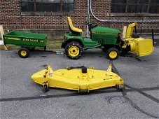 John Deere 455 W/ Snowblower, Trailer & Mower Deck