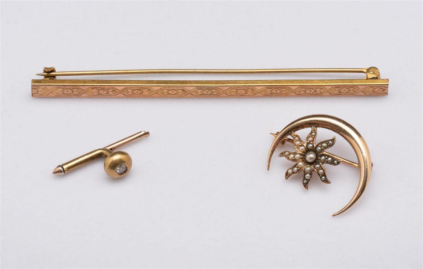 3 Pcs Vintage Gold Jewelry