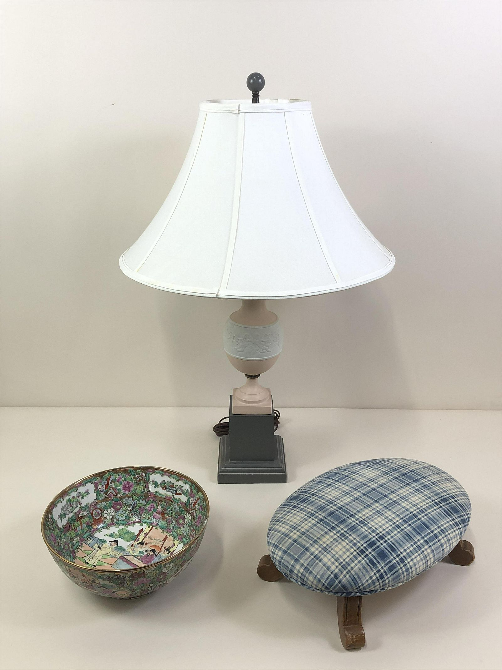 Lamp, Famille Rose Bowl and Foot Stool