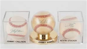 3 Autographed Baseballs With COA's