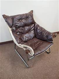 Sorlie Mobler Trega Chrome/Leather Sling Chair
