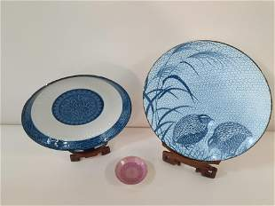 3 Pcs Chinese Porcelain incl Blue and White