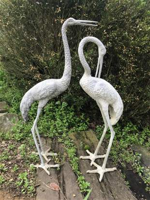 Pair of Cast Aluminum Crane Garden Sculptures